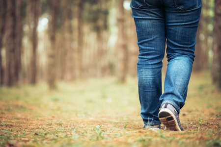 Closeup legs of woman in blue jeans walking forward in the forest Banco de Imagens