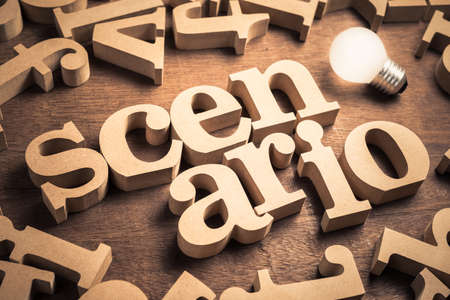 Scenario word in scattered English alpabets with glowing light bulb