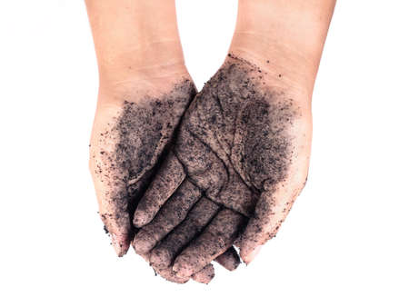 Dirty human hands with dirt or black soil on white