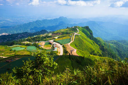 Mountain view and valley of famous tourist attraction named Phu Tab Berk, beautiful scenic from Phu Phangma viewpoint at Phu Hin Rong Kla National Park, in Thailand