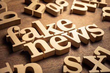 FAKE NEWS word by wood alphabets with many random letters around