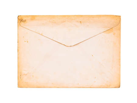 Back side of old white envelope turn to yellowed border isolated on white background 免版税图像 - 142039385