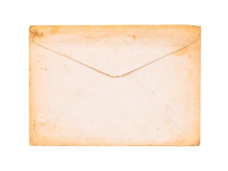 Back side of old white envelope turn to yellowed border isolated on white background Stock Photo