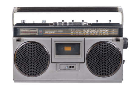 Retro portable radio, outdated stereo boombox with cassette player isolated on white background