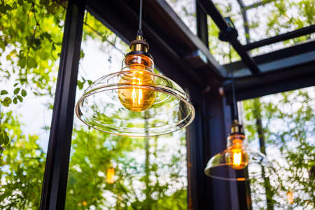 Glass ceiling lamp in the room close to garden outside, modern lighting decoration