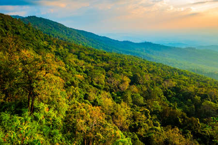 Mountain View and Forest canopy before Sunset at the famous view point named Lan Hin Poom, tourism attraction in Phu Hin Rong Kla National Park, Thailand Stock fotó