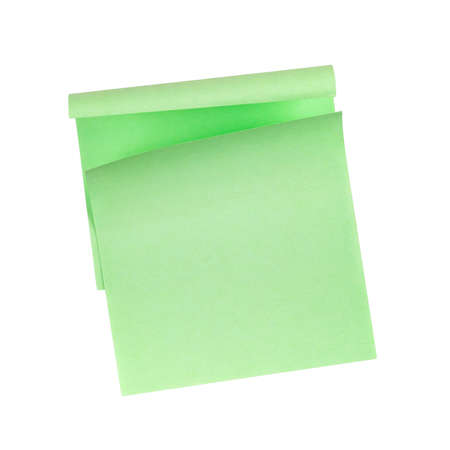 Two green sticky notepads with folded edge isolated on white background
