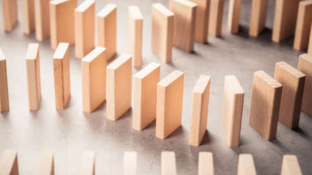 Closeup stable wood arranged in a row on the table