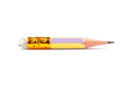 Very short pencil in old condition isolated on white background