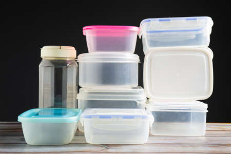 Group of old reusable plastic container to preserve food 写真素材