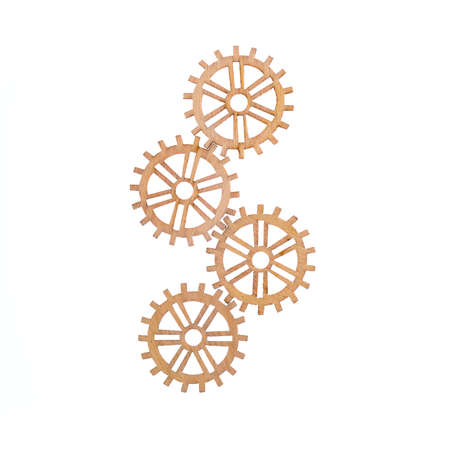 Small designed wooden object look like gearwheels or cogwheel, made for carpentry work isolated on white background