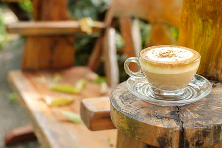 Cappuccino coffee in glass cup on the designed wood bench that has a small cut wood to rest the coffee cup, coffee time in the garden
