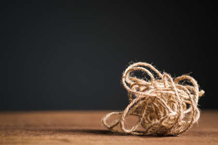 Bunch of confused jute rope on the table