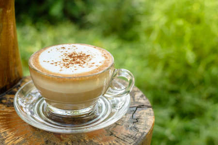 Cappuccino coffee in glass cup on the small log table in the garden 版權商用圖片