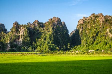 Limestone mountain range and green rice field, travel scenic at Noen Maprang district, Phitsanulok, Thailand