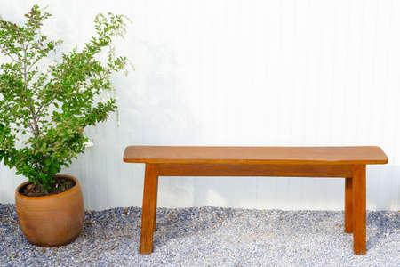Wooden bench and plant on the pebbles ground outside the white building 版權商用圖片