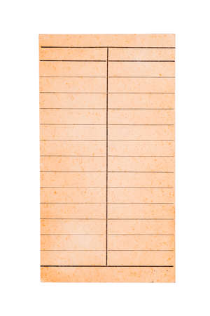 Piece of old yellowed paper with two column left and right row, paper from library book to note the deadline of lending book