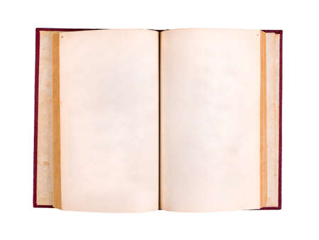 Opend old hardcover book with blank pages isolated on white background