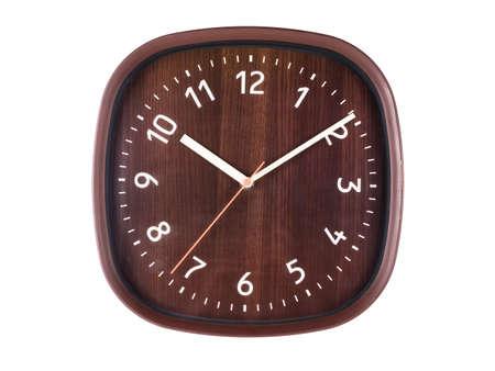 Plastic wall clock designed like made of wood, isolated on white background 版權商用圖片