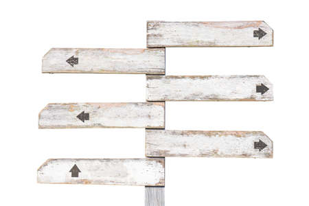 Old wooden signpost painted in white with multiple direction, isolated on white background 版權商用圖片