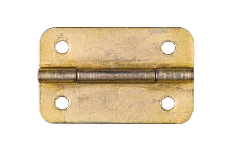 Brass hinge with screw holes in old condition, isolated on white background