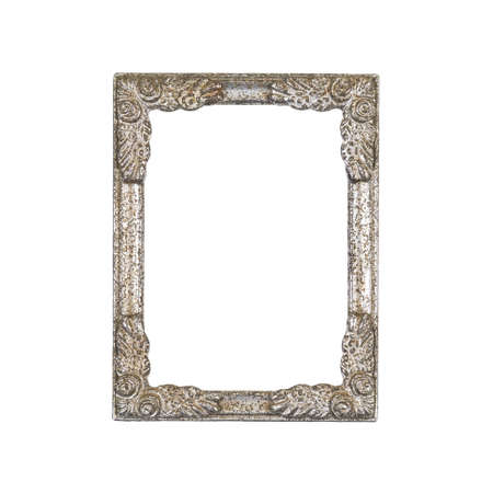 Vintage silver picture frame in old condition, metallic small picture border with rust in 4:6 ratio isolated on white background 版權商用圖片