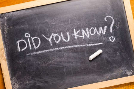 Did You Know? text, handwriting with chalk on dirty blackboard with chalk dust 版權商用圖片