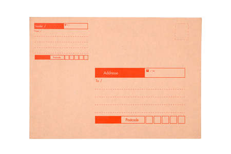 Brown envelope for A4 documents with sender and destination index blank to fill in, with postcode, isolated on white background