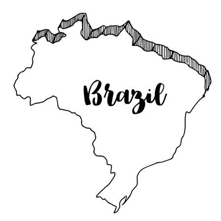 Hand drawn  of  Brazil map, vector  illustration