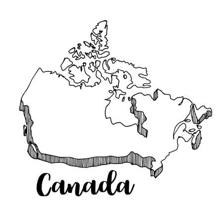 Hand drawn of Canada map, vector illustration