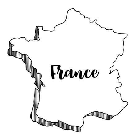 corsica: Hand drawn  of  France map, vector  illustration Illustration