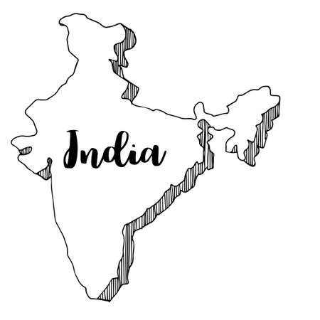 Hand drawn  of India map, vector  illustration Illustration