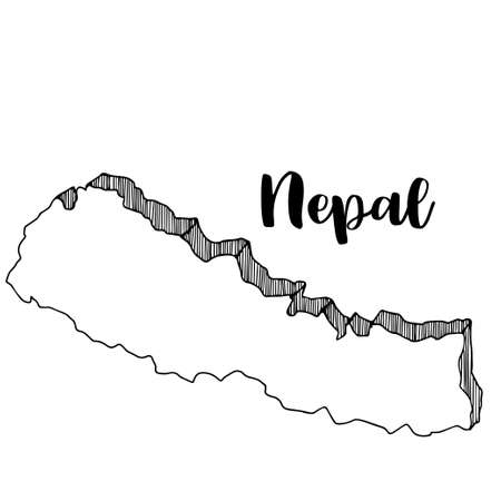 Hand drawn  of  Nepal map, vector  illustration