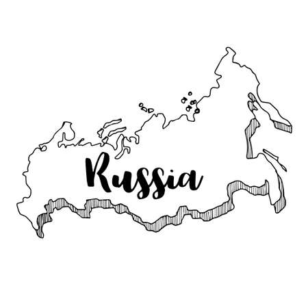 moscow city: Hand drawn  of Russia map, vector  illustration