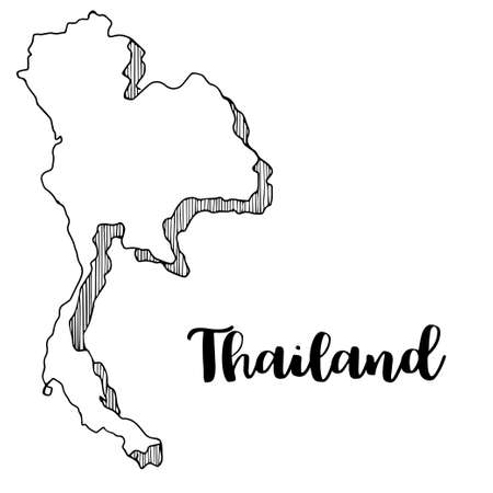 Hand drawn  of Thailand map, vector  illustration  イラスト・ベクター素材