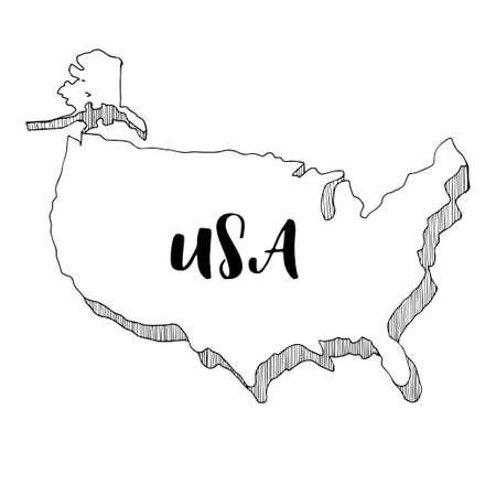 Main dessinée de carte USA, illustration vectorielle