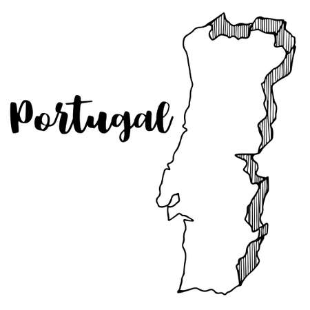 Hand drawn of Portugal map, vector illustration