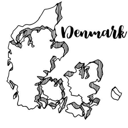Hand getrokken van de kaart van Denemarken, vectorillustratie