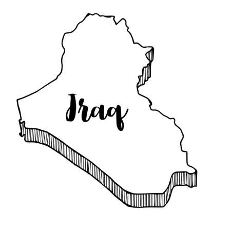 Hand drawn of Iraq map, vector illustration