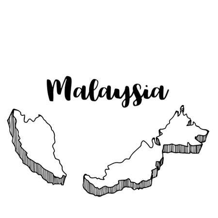 Hand getrokken van de kaart van Maleisië, vectorillustratie