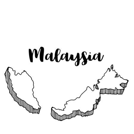 Hand drawn of Malaysia map, vector illustration