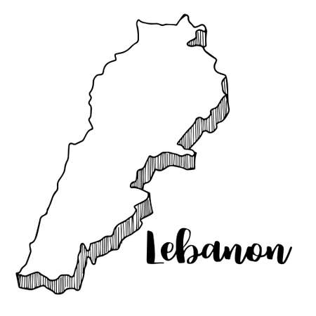 Hand drawn of Lebanon map, vector illustration Çizim