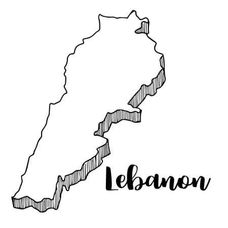 Mano dibujada del mapa de Líbano, ilustración vectorial