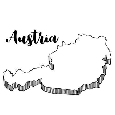 オーストリア マップ、ベクター グラフィックの描画の手  イラスト・ベクター素材