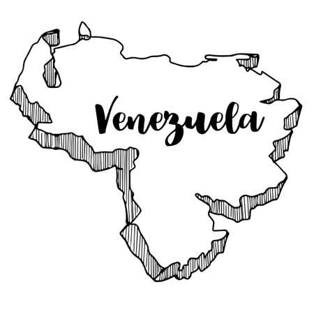 Hand drawn of Venezuela map, vector illustration Çizim