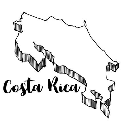 Hand drawn of Costa Rica map, vector illustration Çizim