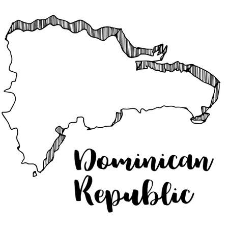 Hand drawn of Dominican Republic map, vector illustration
