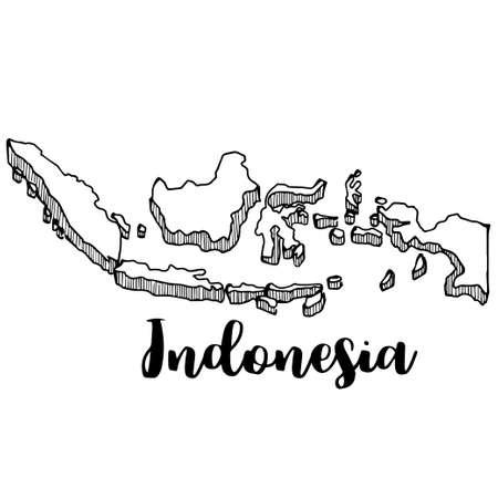 Hand getrokken van de kaart van Indonesië, vectorillustratie