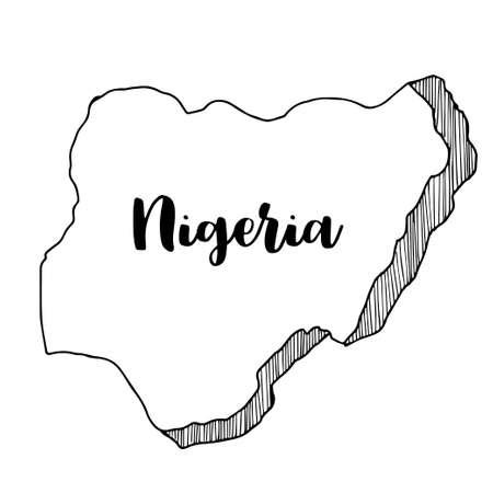 Hand drawn of Nigeria map, vector illustration