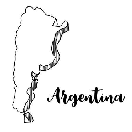 Hand getrokken van de kaart van Argentinië, vectorillustratie Stock Illustratie